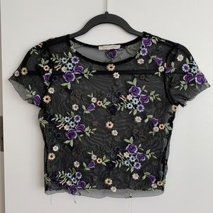 floral embroidered mesh crop top